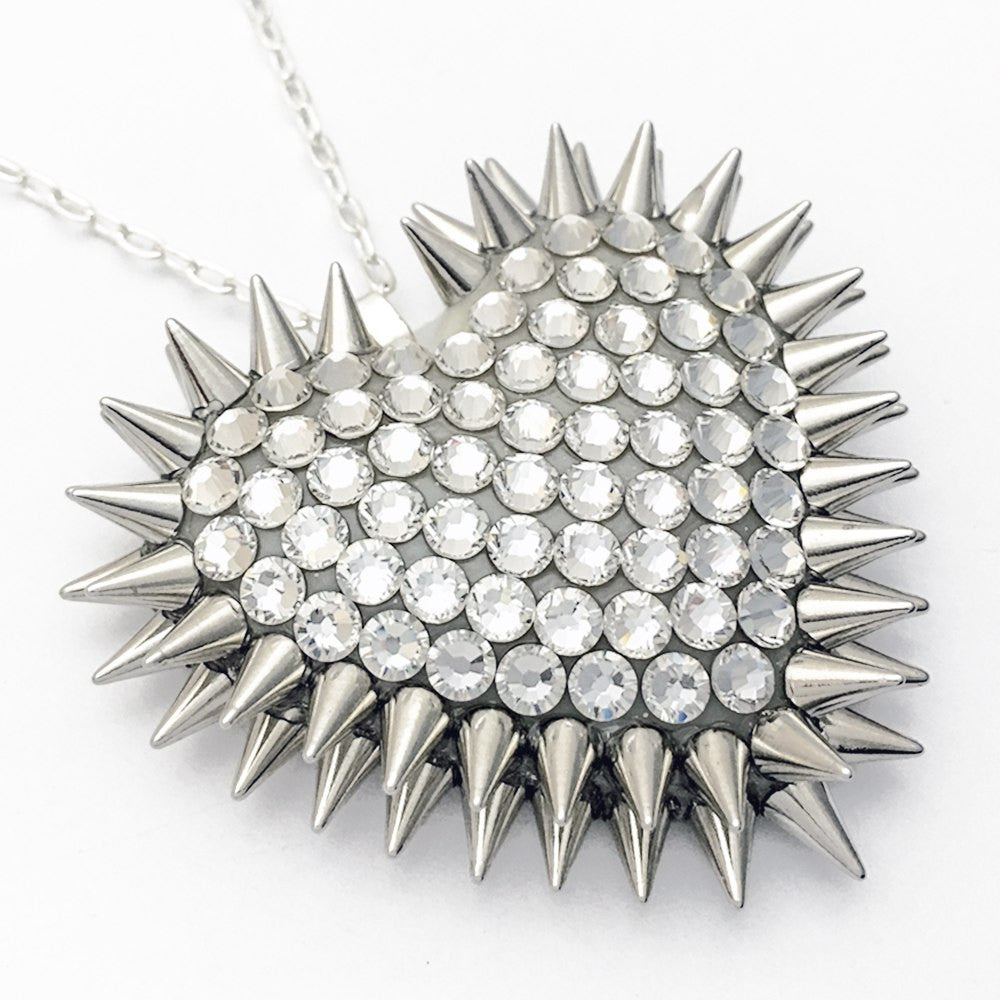 Classic Spiked & Paved Heart Necklace | Crystal