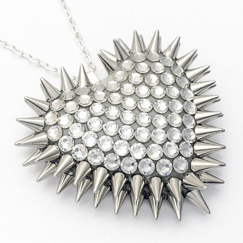 Classic Spiked & Paved Heart Necklace in Crystal