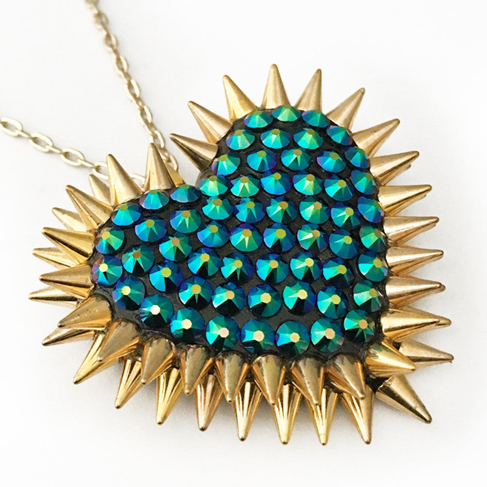 Classic Spiked & Paved Heart Necklace in Dragonfly