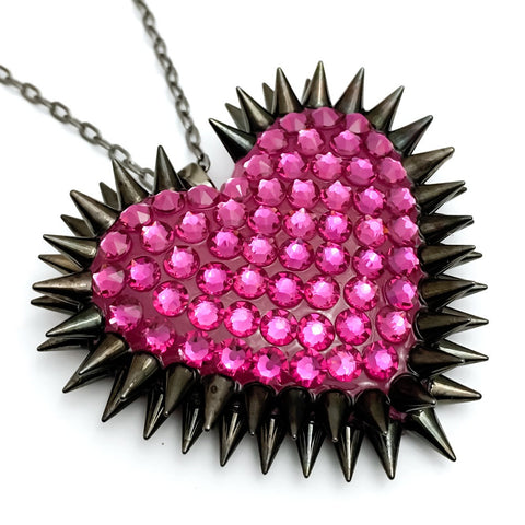 Classic Spiked & Paved Heart Necklace in Fuchsia