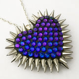 Classic Spiked & Paved Heart Necklace in Heliotrope