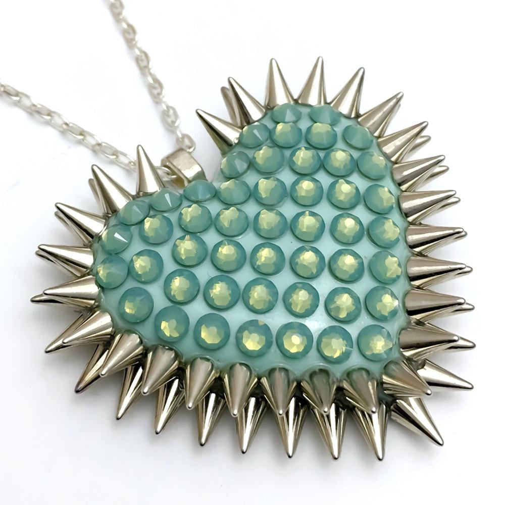 Pacific Opal Spiked & Paved Heart, Natural Light