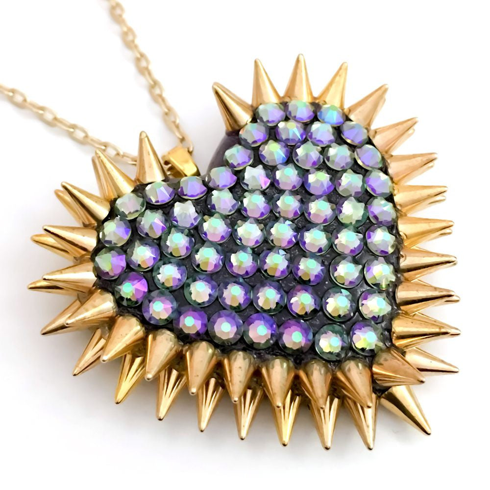 Classic Spiked & Paved Heart Necklace in Paradise