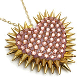 Classic Spiked & Paved Heart Necklace in Vintage Rose