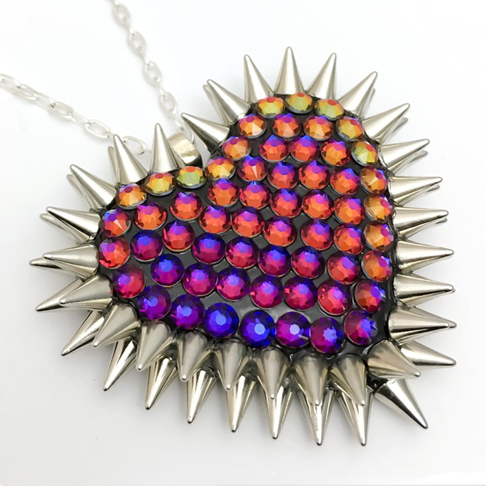 Classic Spiked & Paved Heart Necklace in Volcano