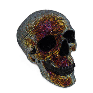 Hand paved human skull with over 10000 Swarovski crystals.
