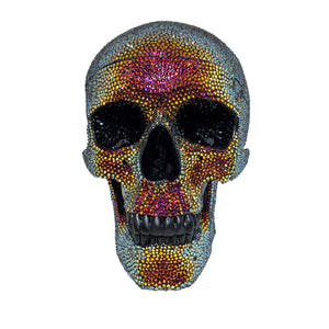 An anotomically correct human skull hand paved with over 10000 Swarovski crystals!