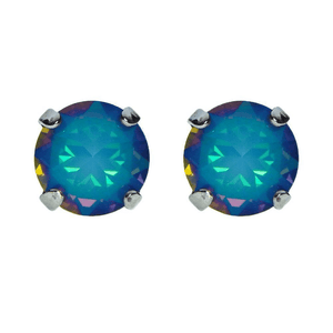 Bunny Paige spiked Swarovski crystal stud earrings. Color-shifting perfection sure to stun!