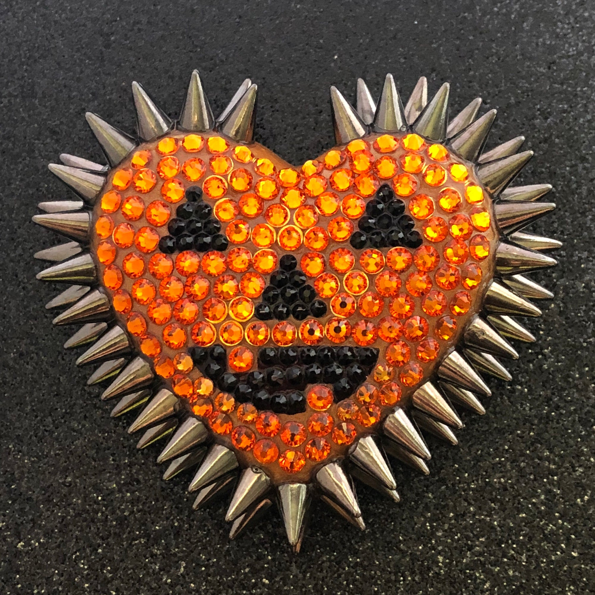 Classic Spiked & Pavéd Heart Necklace in Jack O'Lantern