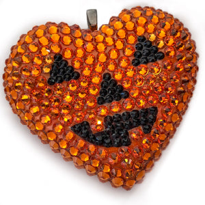 Classic Pavéd Heart Necklace in Jack O'Lantern