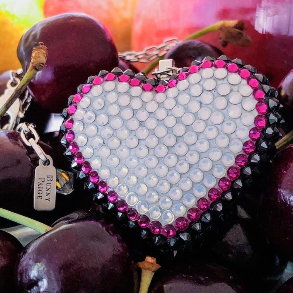 Classic Pavéd Heart Necklace | Black Cherry
