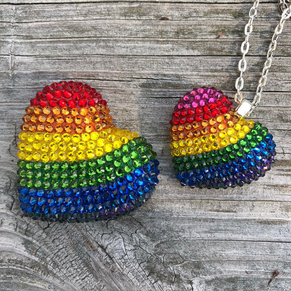 Rainbow Pride Pavéd Heart Necklace