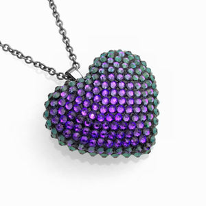 Mini Pavéd Heart Necklace in Heliotrope
