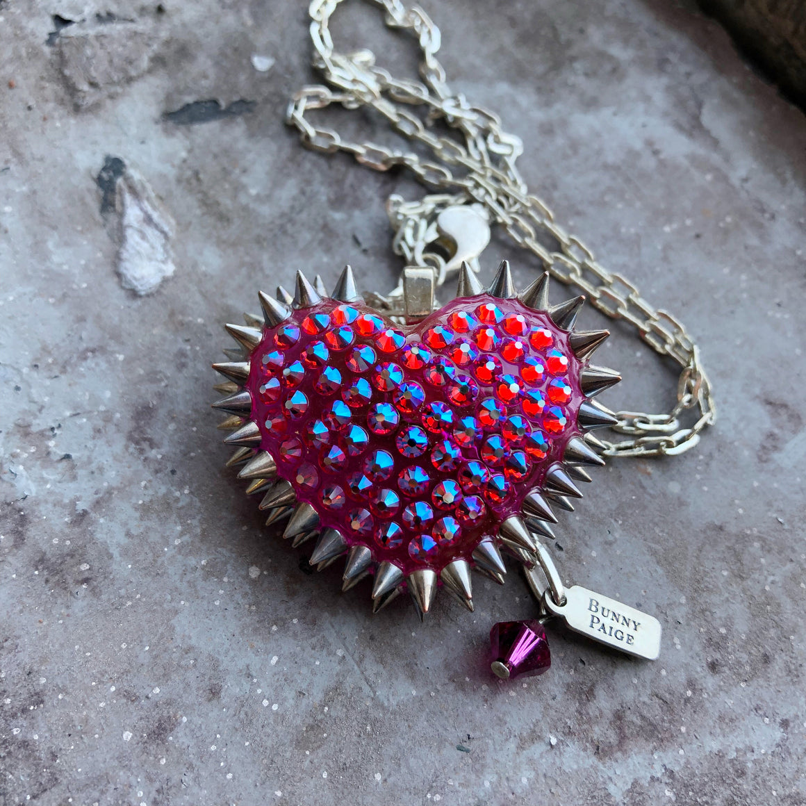 Mini Spiked and Pavèd Heart Necklace in Strawberry Soda