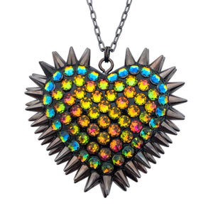 Classic Spiked & Paved Heart Necklace | Vitrail