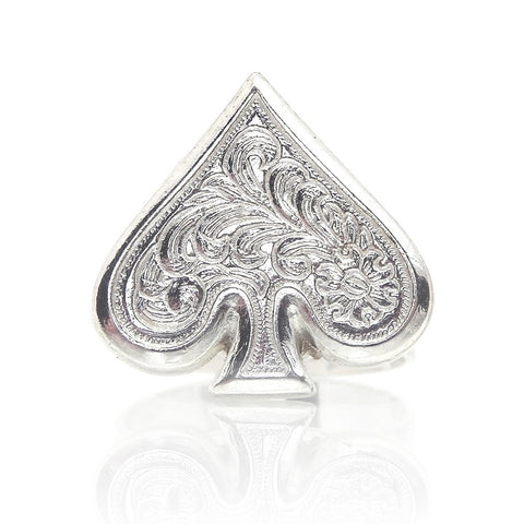 Call a spade a spade poker-face sterling-silver stainless-steel ring by Bunny Paige.