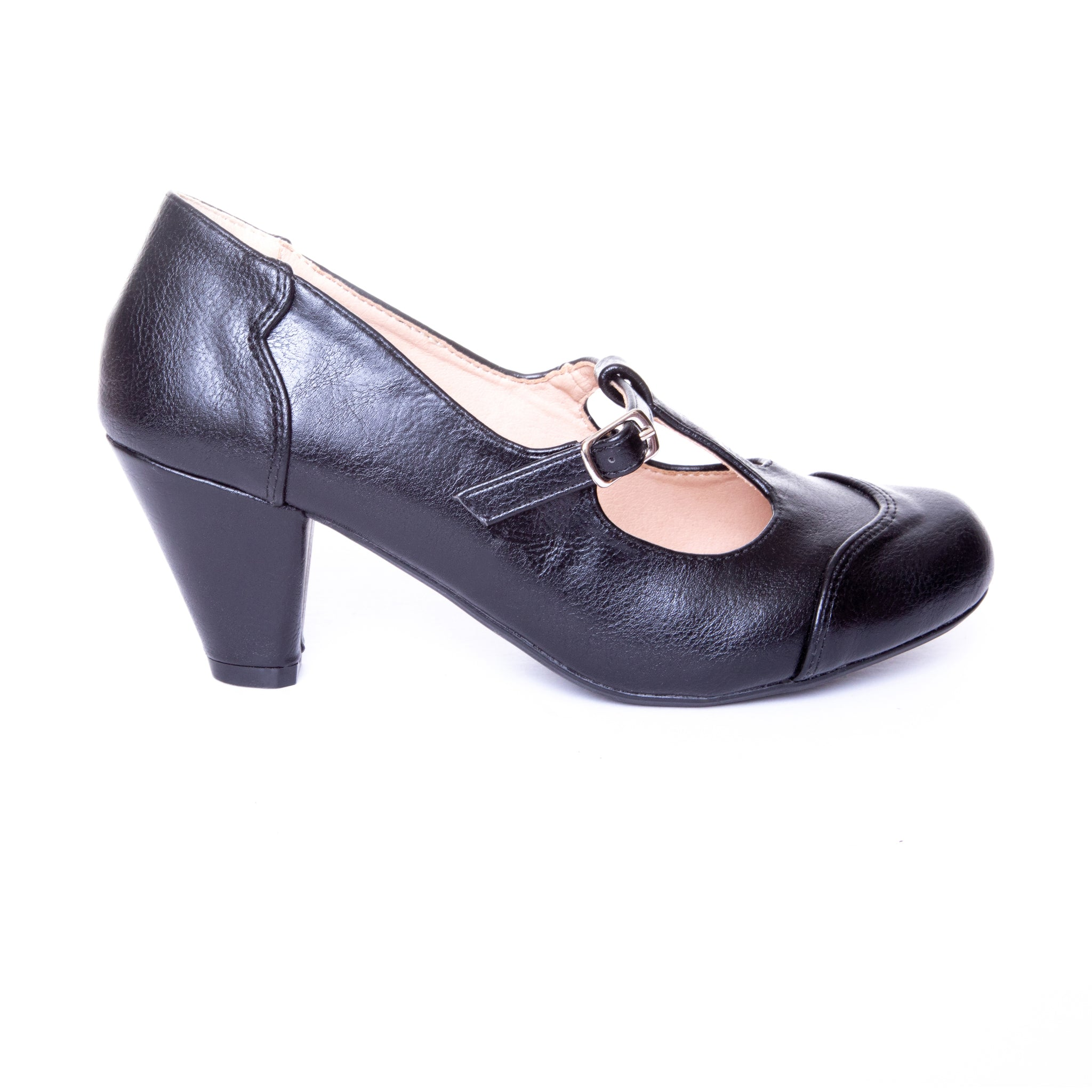 Alexa by Dolce Nome | Mary Jane T-Strap Pumps in Black (side view)