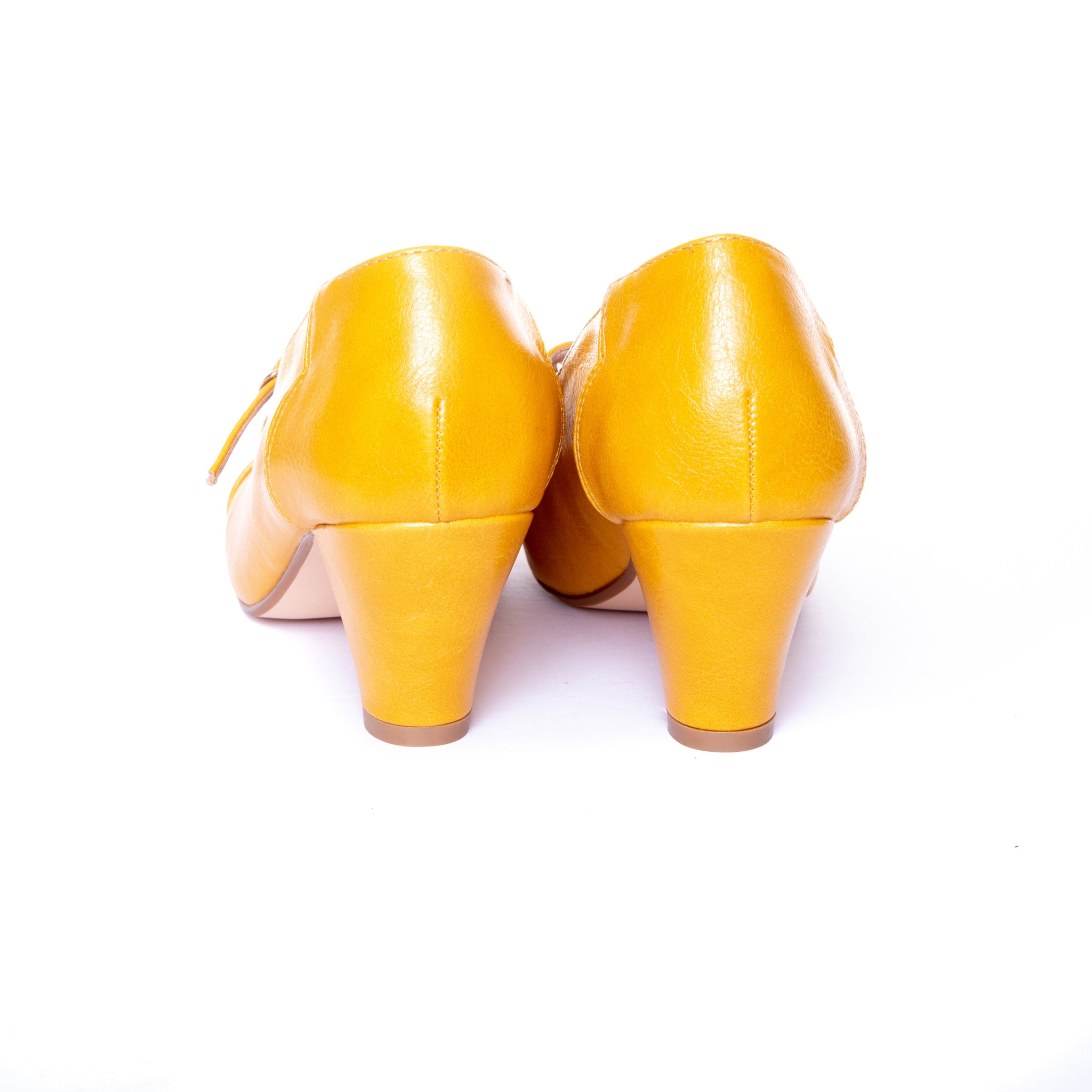 Alexa by Dolce Nome | Mary Jane T-Strap Pumps in Mustard (back view)
