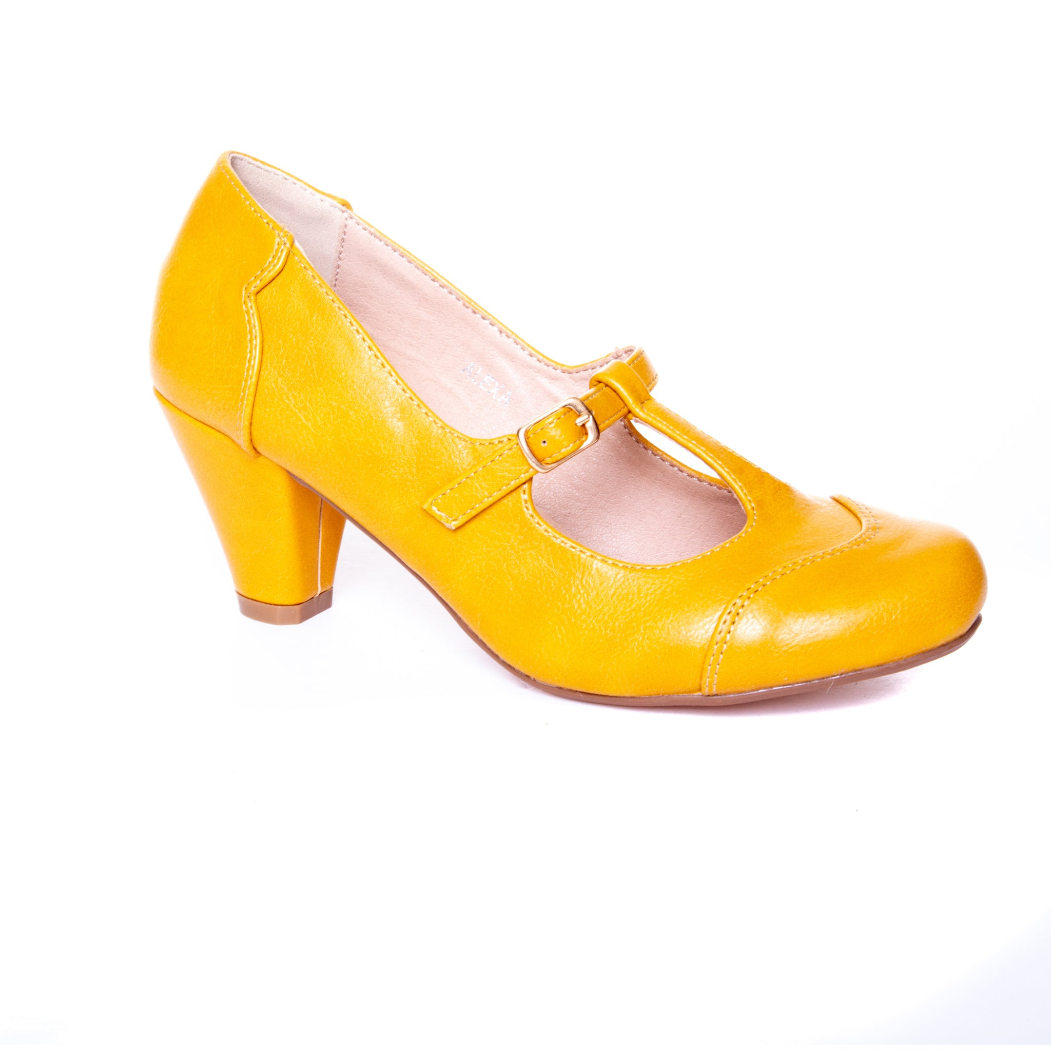 Alexa by Dolce Nome | Mary Jane T-Strap Pumps in Mustard (main view)