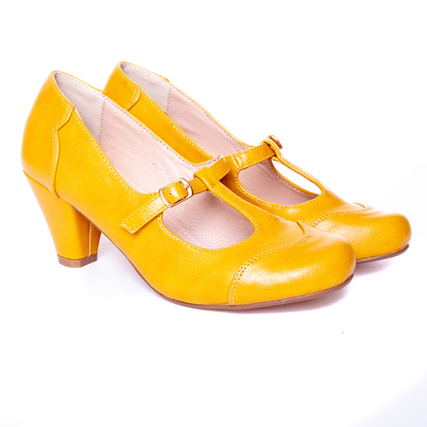 Alexa by Dolce Nome | Mary Jane T-Strap Pumps in Mustard (pair view)