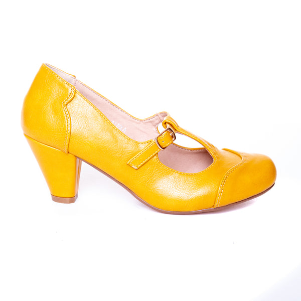 Alexa by Dolce Nome | Mary Jane T-Strap Pumps in Mustard (side view)