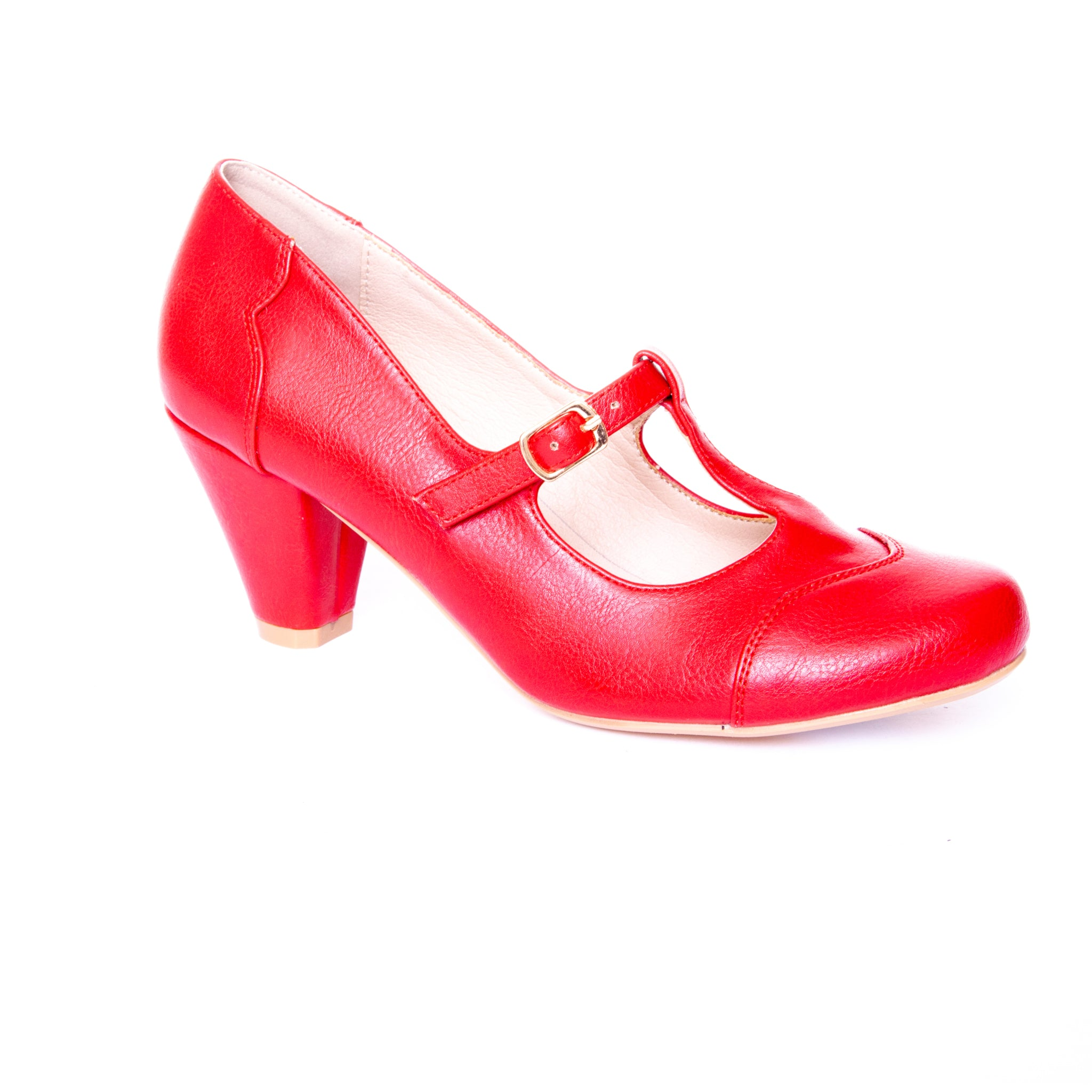 Alexa by Dolce Nome | Mary Jane T-Strap Pumps in Red (main view)