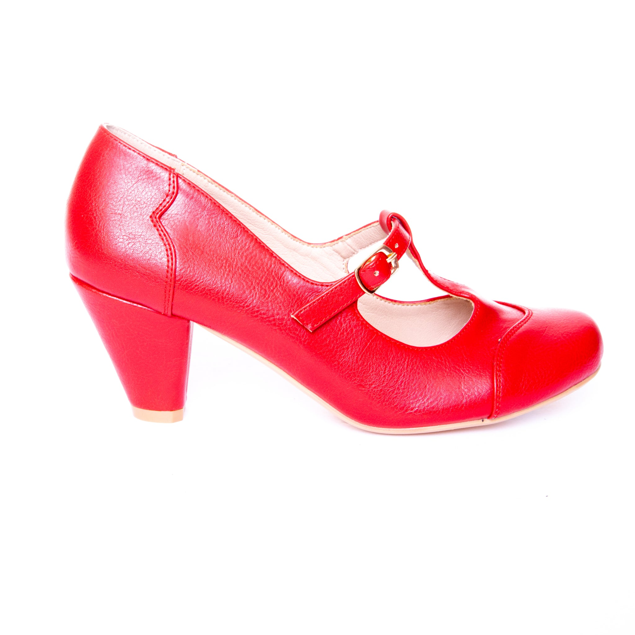 Alexa by Dolce Nome | Mary Jane T-Strap Pumps in Red (pair view)