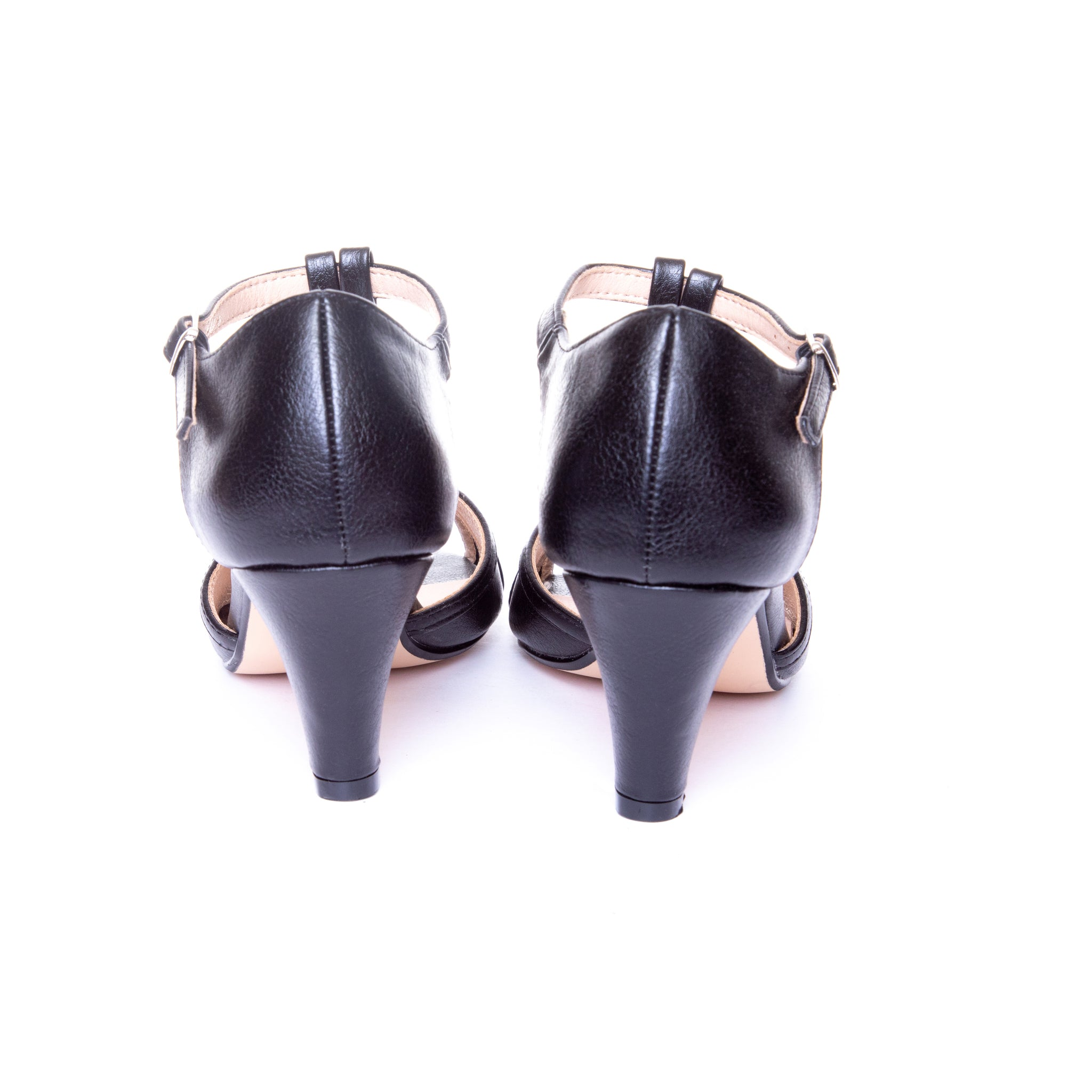 Becca by Dolce Nome | Open Toe Heel Sandals in Black (back view)