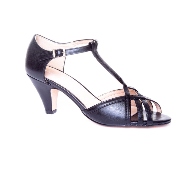 Becca by Dolce Nome | Open Toe Heel Sandals in Black (main view)
