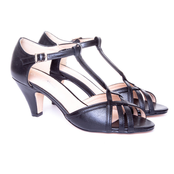 Becca by Dolce Nome | Open Toe Heel Sandals in Black (pair view)