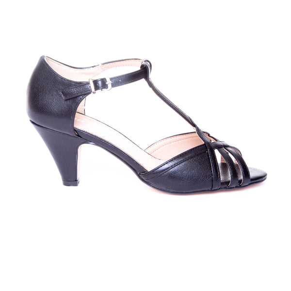Becca by Dolce Nome | Open Toe Heel Sandals in Black (side view)