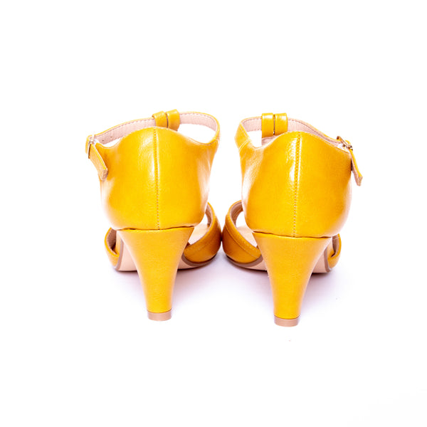 Becca by Dolce Nome | Open Toe Heel Sandals in Mustard (back view)
