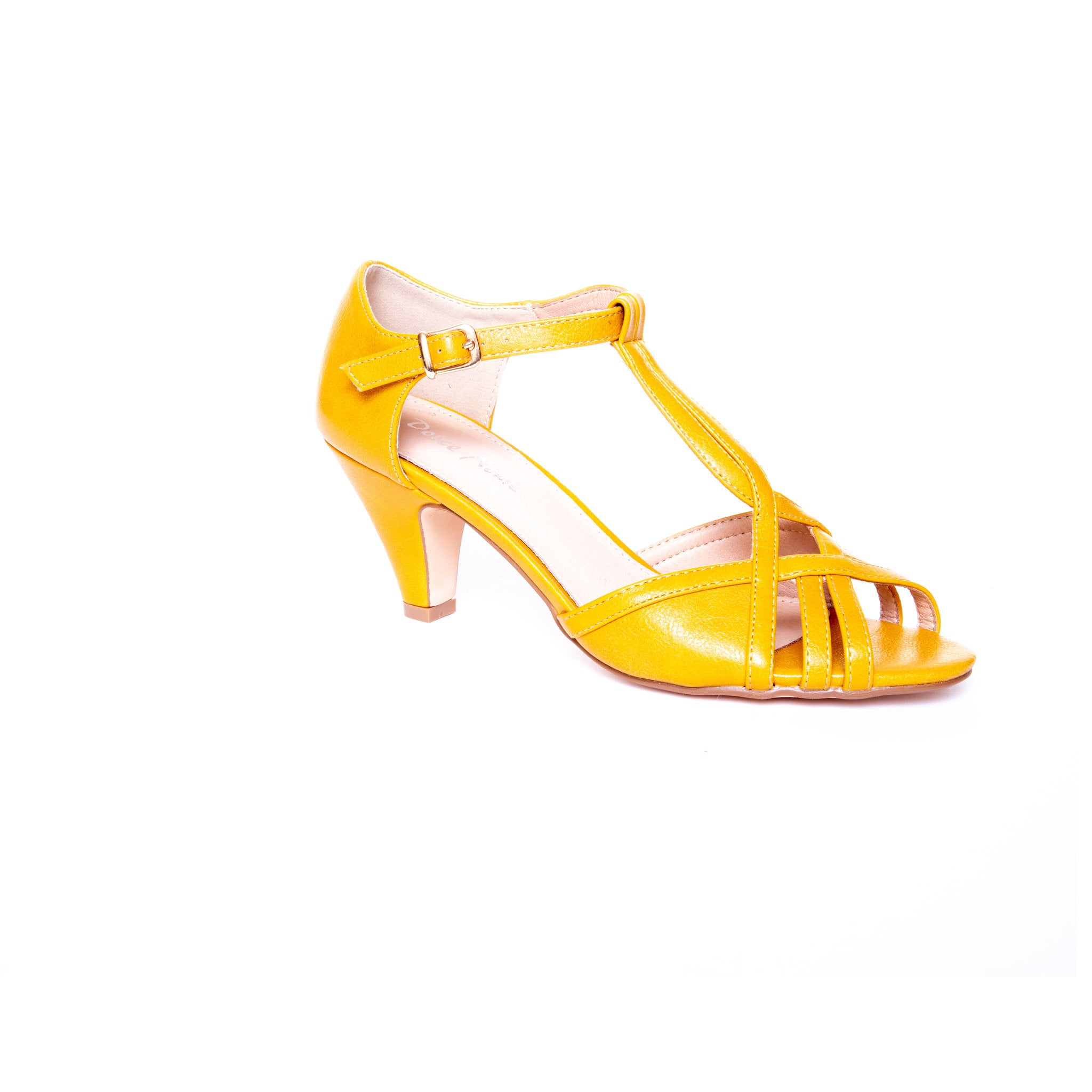Becca by Dolce Nome | Open Toe Heel Sandals in Mustard (main view)