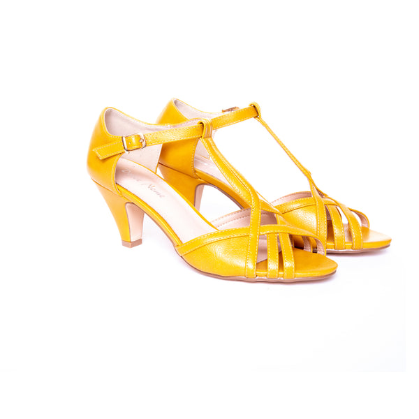 Becca by Dolce Nome | Open Toe Heel Sandals in Mustard (pair view)