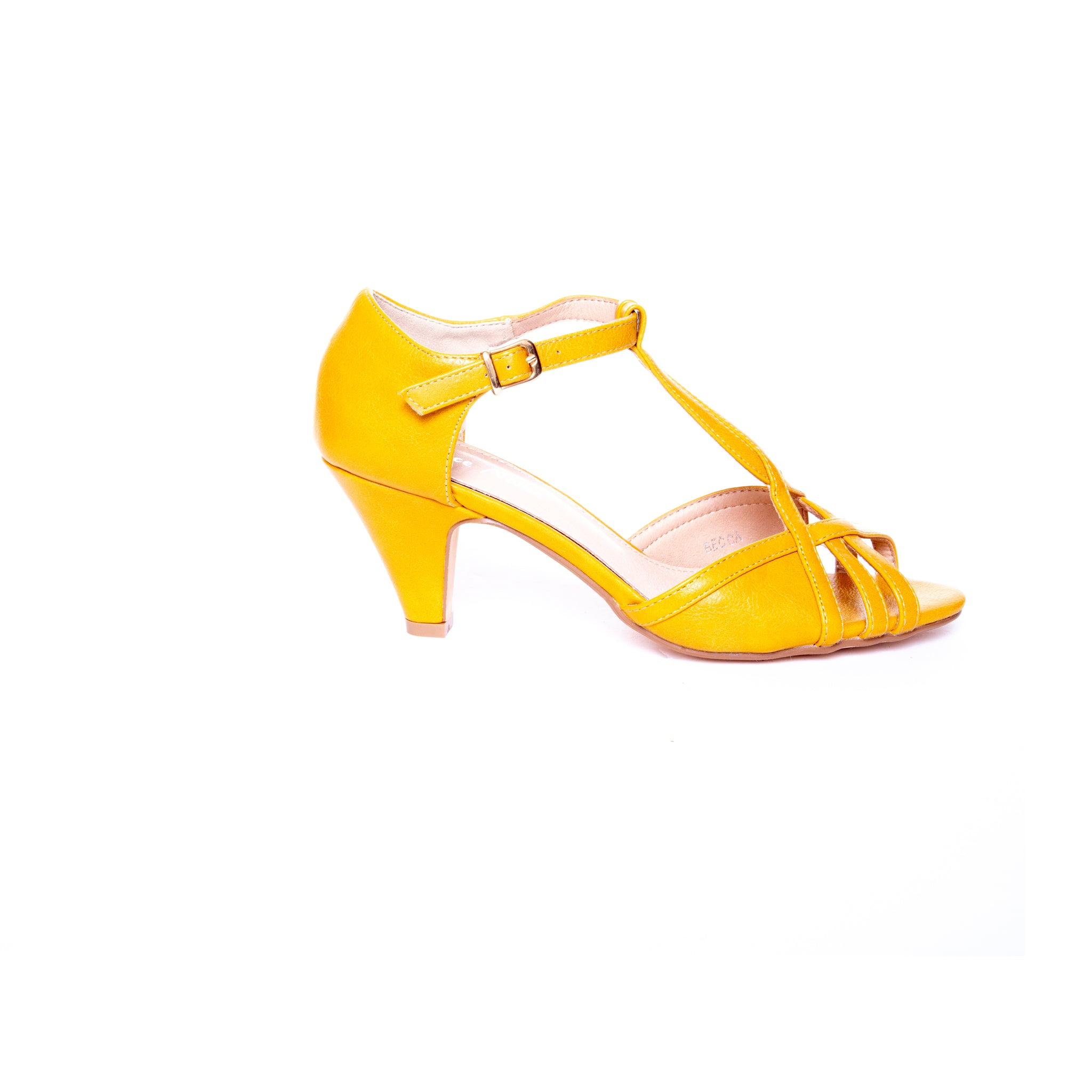 Becca by Dolce Nome | Open Toe Heel Sandals in Mustard (side view)