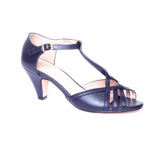 Becca by Dolce Nome | Open Toe Heel Sandals in Navy (main view)