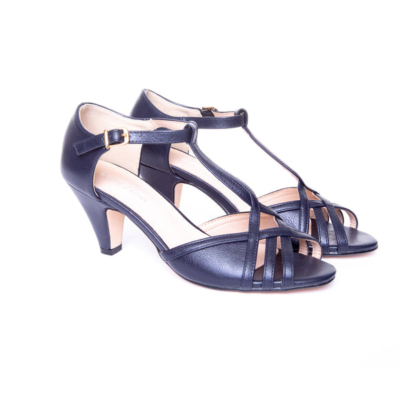 Becca by Dolce Nome | Open Toe Heel Sandals in Navy (pair view)