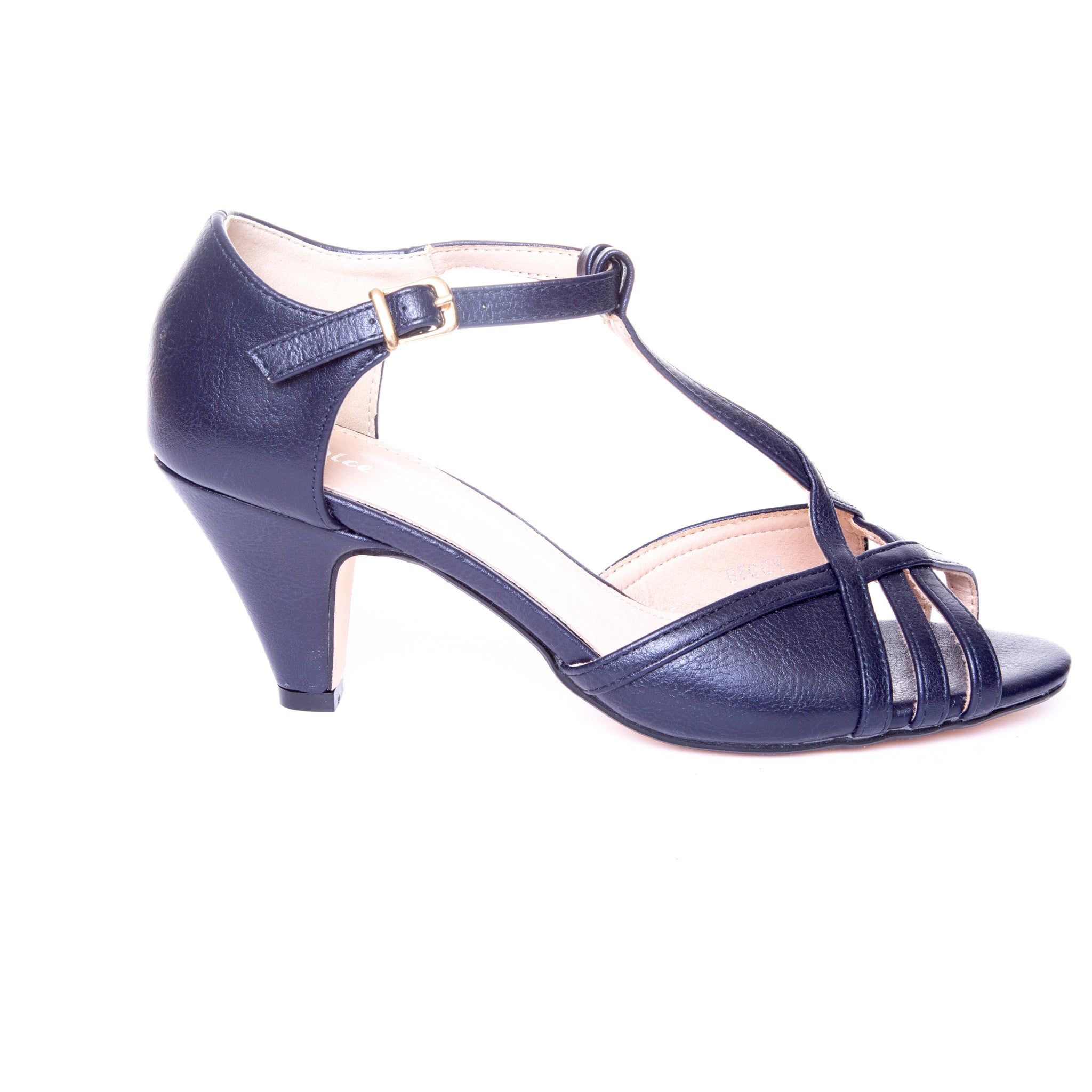 Becca by Dolce Nome | Open Toe Heel Sandals in Navy (side view)