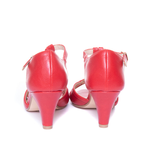 Becca by Dolce Nome | Open Toe Heel Sandals in Red (back view)