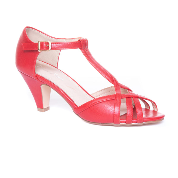 Becca by Dolce Nome | Open Toe Heel Sandals in Red (main view)