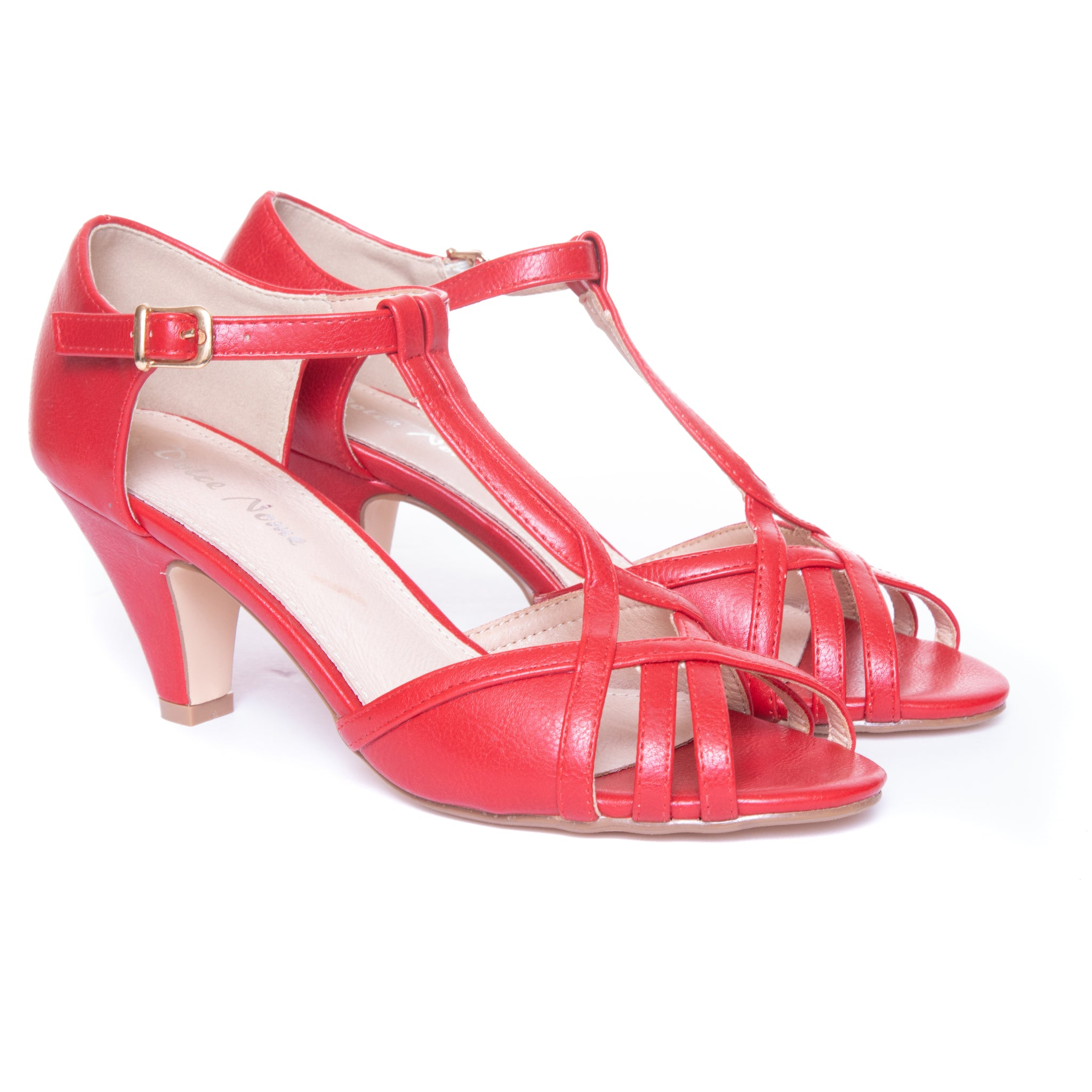 Becca by Dolce Nome | Open Toe Heel Sandals in Red (pair view)