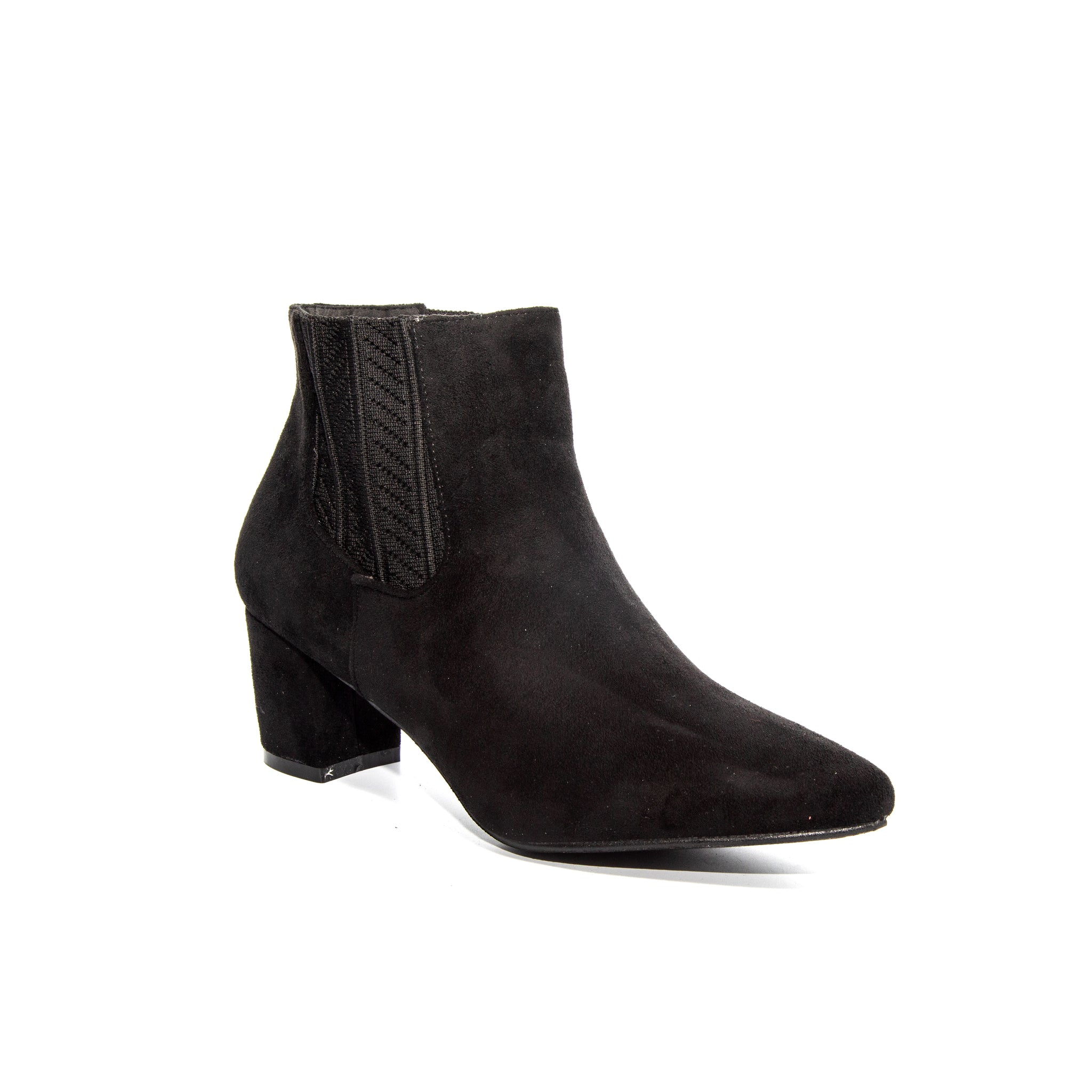 Chloe by Dolce Nome | Faux Suede Ankle Boots in Black (main view)