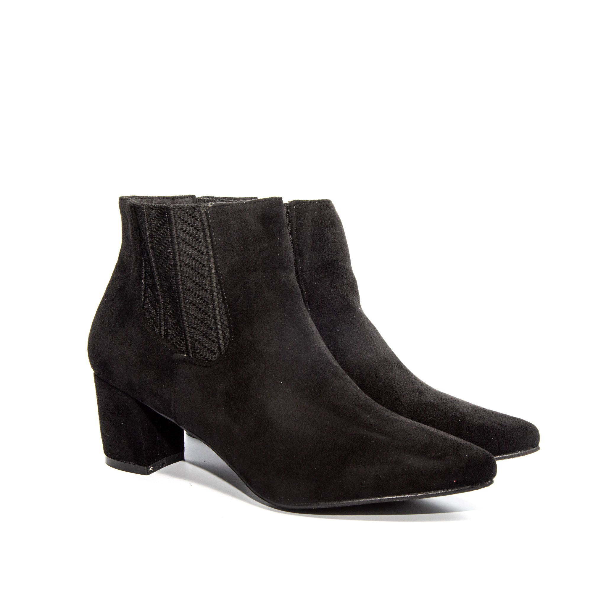 Chloe by Dolce Nome | Faux Suede Ankle Boots in Black (pair view)