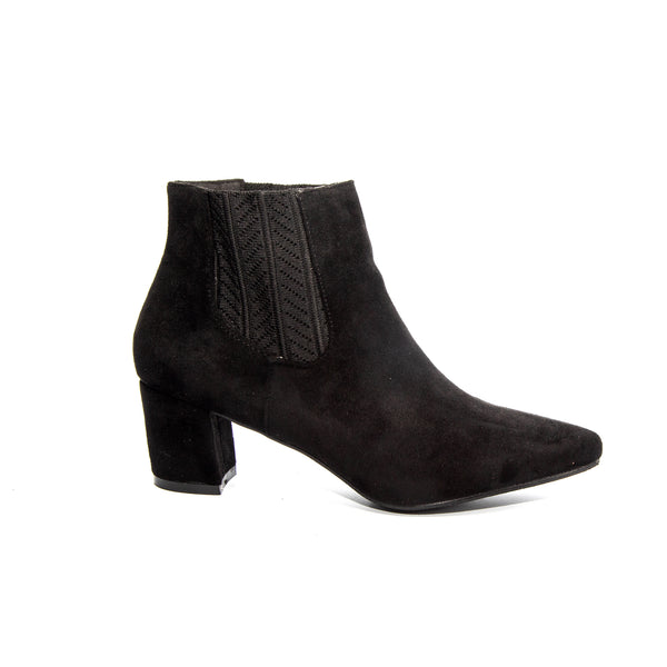 Chloe by Dolce Nome | Faux Suede Ankle Boots in Black (side view)