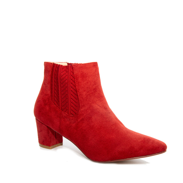 Chloe by Dolce Nome | Faux Suede Ankle Boots in Rust (main view)