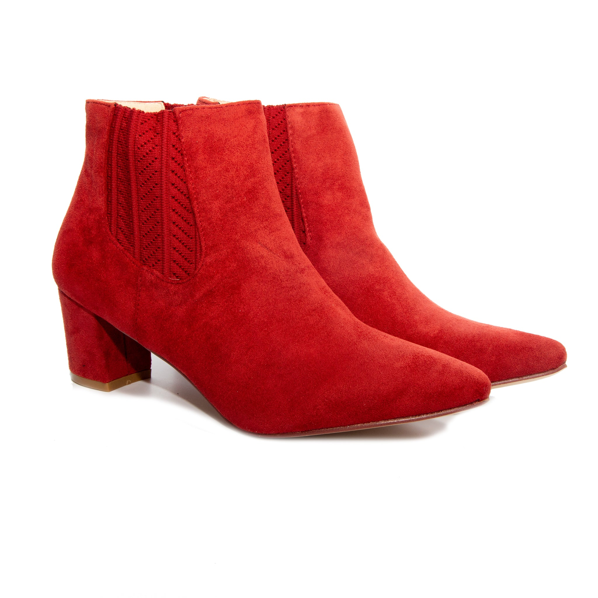 Chloe by Dolce Nome | Faux Suede Ankle Boots in Rust (pair view)