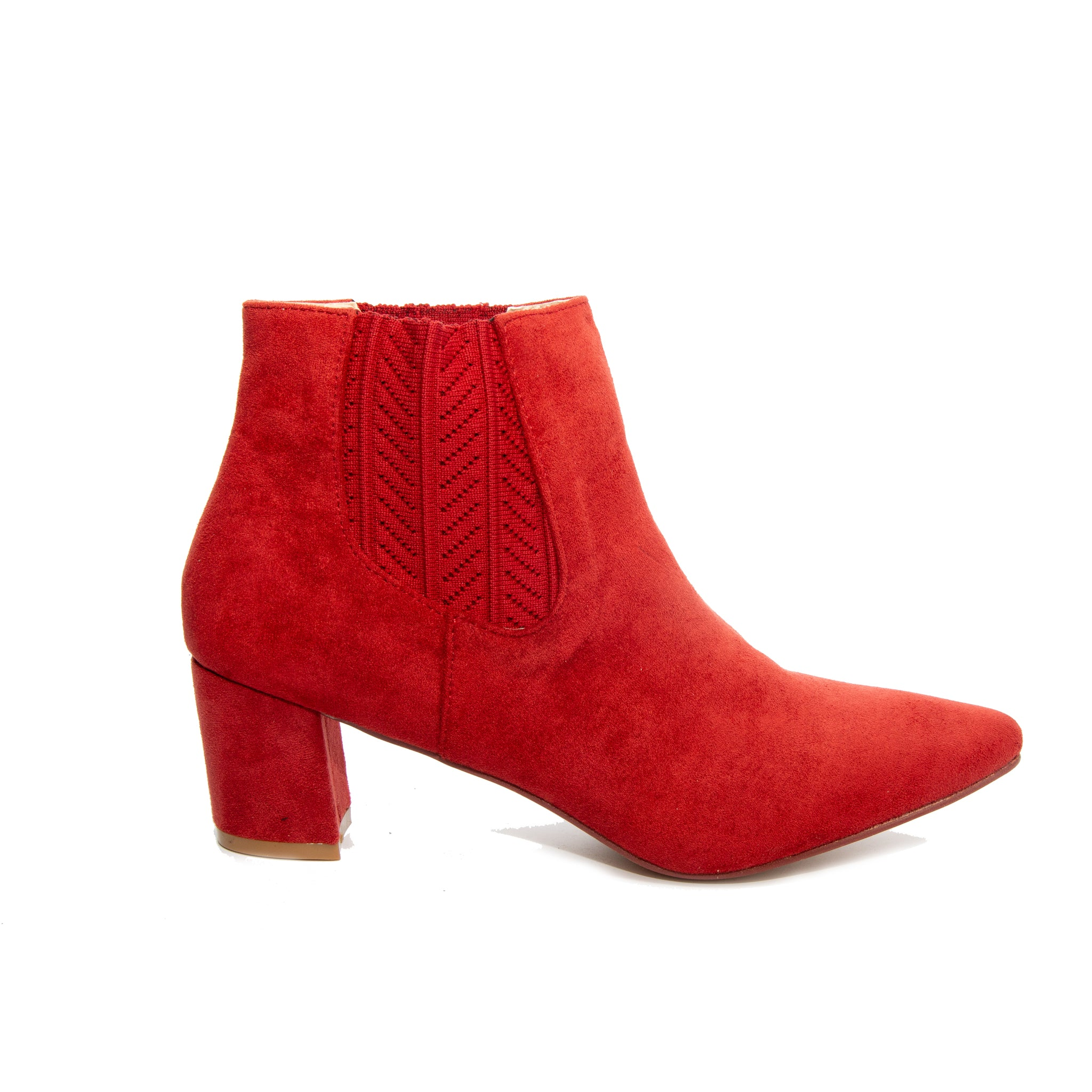 Chloe by Dolce Nome | Faux Suede Ankle Boots in Rust (side view)