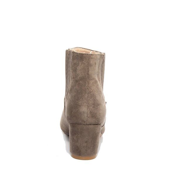 Chloe by Dolce Nome | Faux Suede Ankle Boots in Taupe (back view)