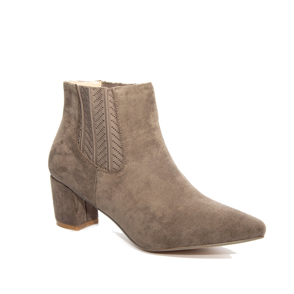 Chloe by Dolce Nome | Faux Suede Ankle Boots in Taupe (main view)