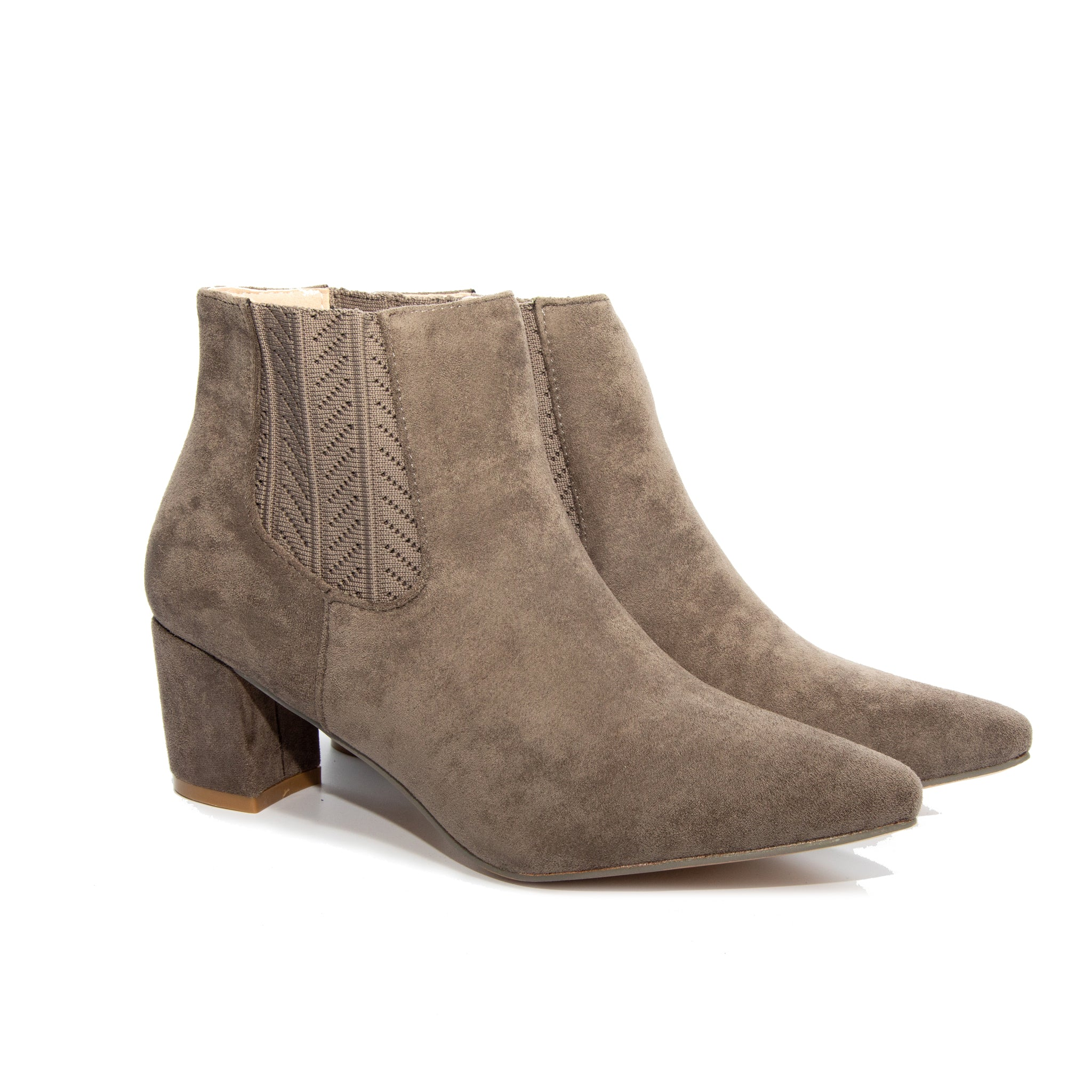 Chloe by Dolce Nome | Faux Suede Ankle Boots in Taupe (pair view)